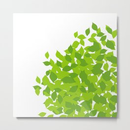 Composition with fresh green spring leaves- earth day gift Metal Print