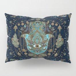 Hamsa Hand -Hand of Fatima Blue Gemstones Pillow Sham
