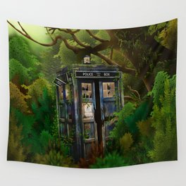 Abandoned Tardis doctor who in deep jungle Wall Tapestry