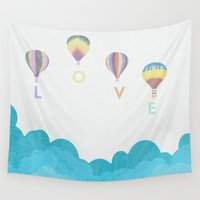 hot air balloon Wall Tapestries featuring hot air balloon.. LOVE...  by studiomarshallarts