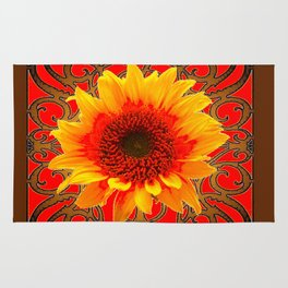 Coffee Brown & Red Yellow Sunflower Filigree Art Rug