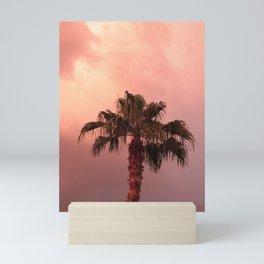 palm tree in sandstorm Mini Art Print