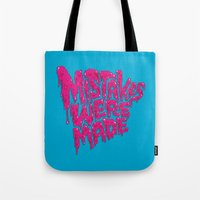 onesie Tote Bags featuring Mistakes were made. by Chris Piascik