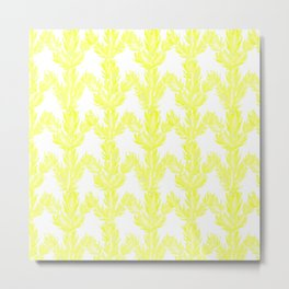 Yellow Succulent Pattern Metal Print