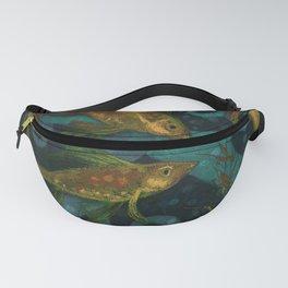 Golden Fish, Black Teal, Underwater Art Fanny Pack