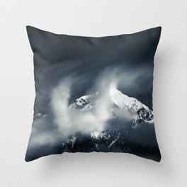 Darkness and chaos over the mountain Throw Pillow