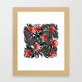 Tropical Flower Pattern - Black and White Framed Art Print