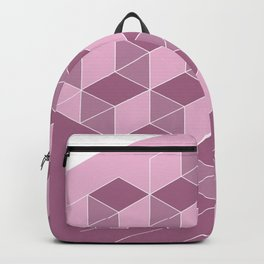 Cubed Expression – Pink / Purple Abstract Diamond Pattern Backpack