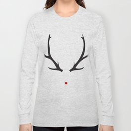 Minimalist Rudolph with red nose Long Sleeve T-shirt