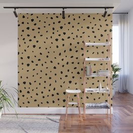 Cheetah Spots animal print minimal wild cat speckles and dots Ginger yellow Wall Mural