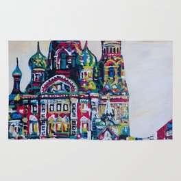 st petersburg  with church of the savior on blood Rug