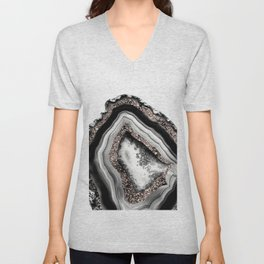 Agate Rose Gold Glitter Glam #4 #gem #decor #art #society6 Unisex V-Neck