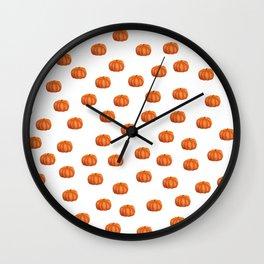 Cute Little Pumpkin Pattern | Autumn/Fall Illustration | Orange & White | Nature & Seasons Wall Clock