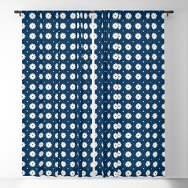 Beige flowers and dots aligned over dark blue Blackout Curtain