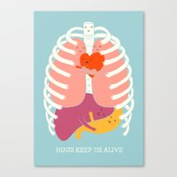 ilovedoodle Canvas Prints featuring Hug keep us alive by I Love Doodle