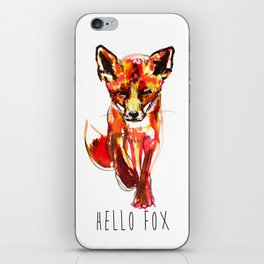 Cute Little Red Fox water colour ink iPhone Skin
