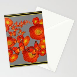 Decorative Orange Butterflies Poppy Floral Grey Art Stationery Cards