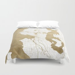 Seattle White and Gold Map Duvet Cover