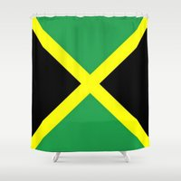jamaica Shower Curtains featuring Jamaica Flag by D.A.S.E. 3