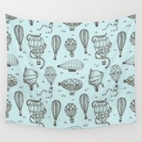 hot air balloons Wall Tapestries featuring Hot Air Balloons by PatternInk