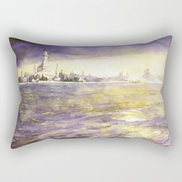 Watercolor painting of prangs of Wat Arun silhouetted at sunset from across the Chao Praya river Rectangular Pillow