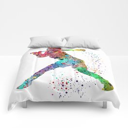 Baseball Softball Player Sports Art Print Watercolor Print Girl's softball Comforters