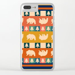 Multicolored bear pattern Clear iPhone Case