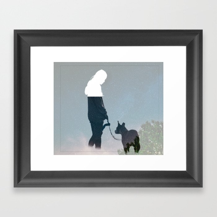 FRIENDSHIP in the space Framed Art Print