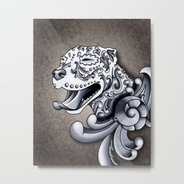 Ornamental Pit Bull - Black and Grey Filigree Pitbull Metal Print