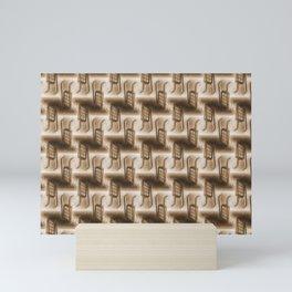 Battery Mishler ladder going nowhere, sepia maze of Ladders pattern Mini Art Print