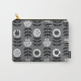 Scandi - modern flower floral pattern scandinavia design retro mid century print monochromatic grey  Carry-All Pouch