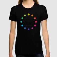 Simple Color Wheel Womens Fitted Tee Black MEDIUM