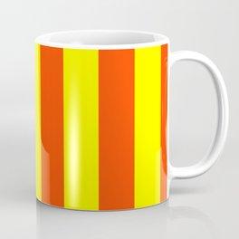 Bright Neon Orange and Yellow Vertical Cabana Tent Stripes Coffee Mug