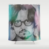 johnny depp Shower Curtains featuring Johnny Polygon by gemsville