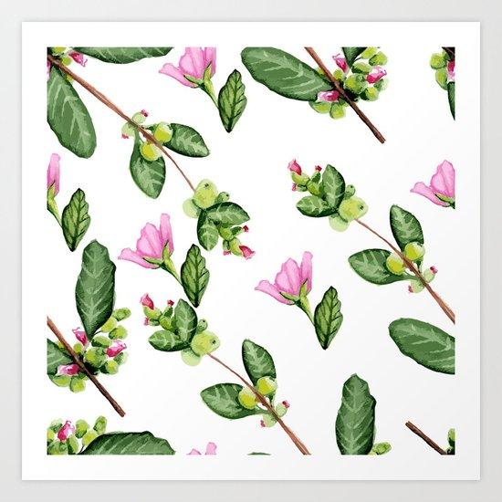 Floral pattern. Watercolor. Art Print