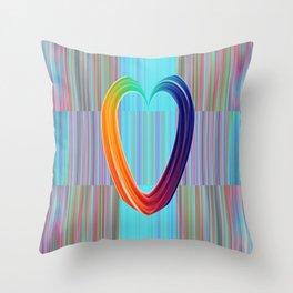 Fractal Art- Pattern Art- Heart Art- Blue Hearts-Pixxie Stixx- LGBT Art- Love- Healing Energy Art Throw Pillow