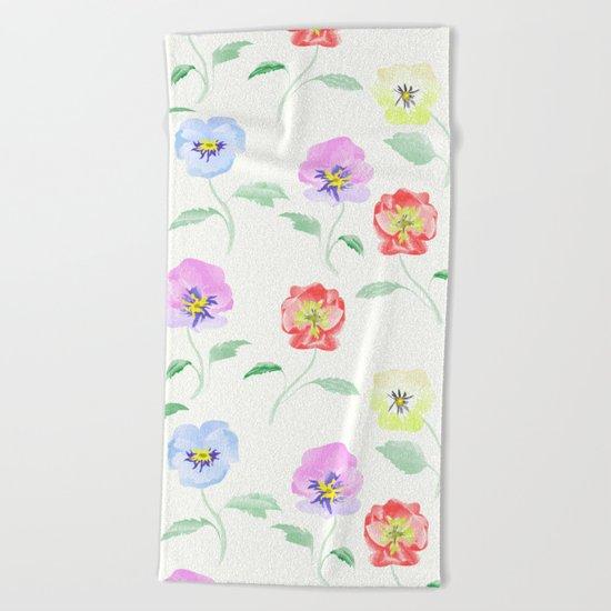 Colored Viola. Watercolor . Beach Towel