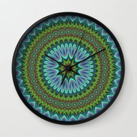 mandala Wall Clocks featuring Mandala by David Zydd