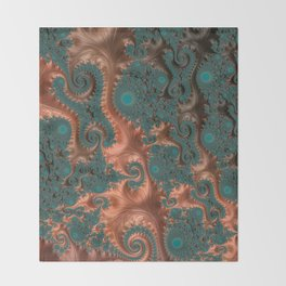 Copper Leaves - Fractal Art Throw Blanket