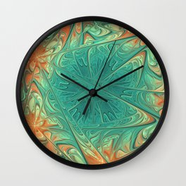 Frozen Flowers I Abstract orange flower, ice mint green water, cute floral pattern Wall Clock