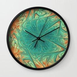 Frozen Flowers I Abstract orange flower, ice mint green water, cute floral pattern Wall Clock