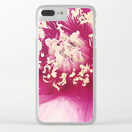 Magenta Peony Clear iPhone Case