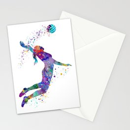 Volleyball Girl Colorful Blue Purple Watercolor Artwork Stationery Cards