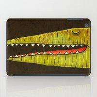crocodile iPad Cases featuring Crocodile by Lime
