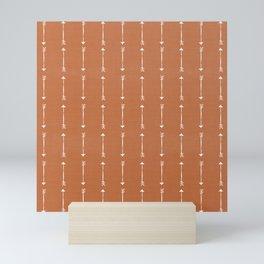 RUSTIC DENIM ARROWS . burnt orange Mini Art Print