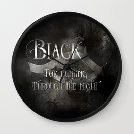 BLACK for hunting through the night. Shadowhunter Children's Rhyme. Wall Clock