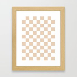 Checkered - White and Pastel Brown Framed Art Print