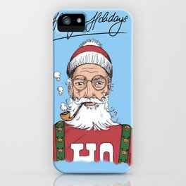 Hispter Santa Christmas Card iPhone Case