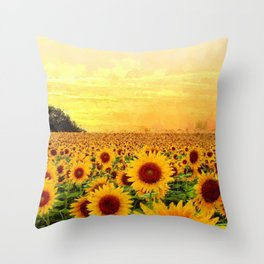 Fields of Gold Sunflowers at first morning light landscape painting Throw Pillow