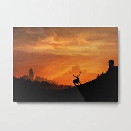 Deer in a mystical landscape Metal Print